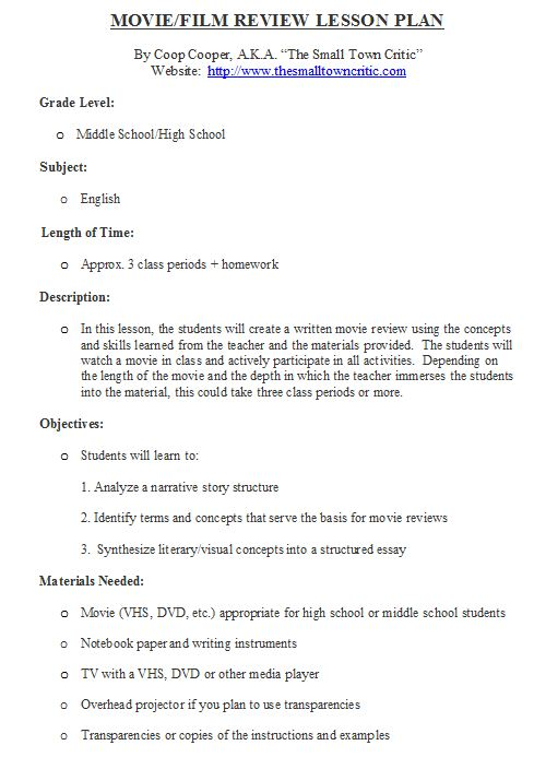 movie review lesson plan the small town critic sample movie review lesson plan capture1